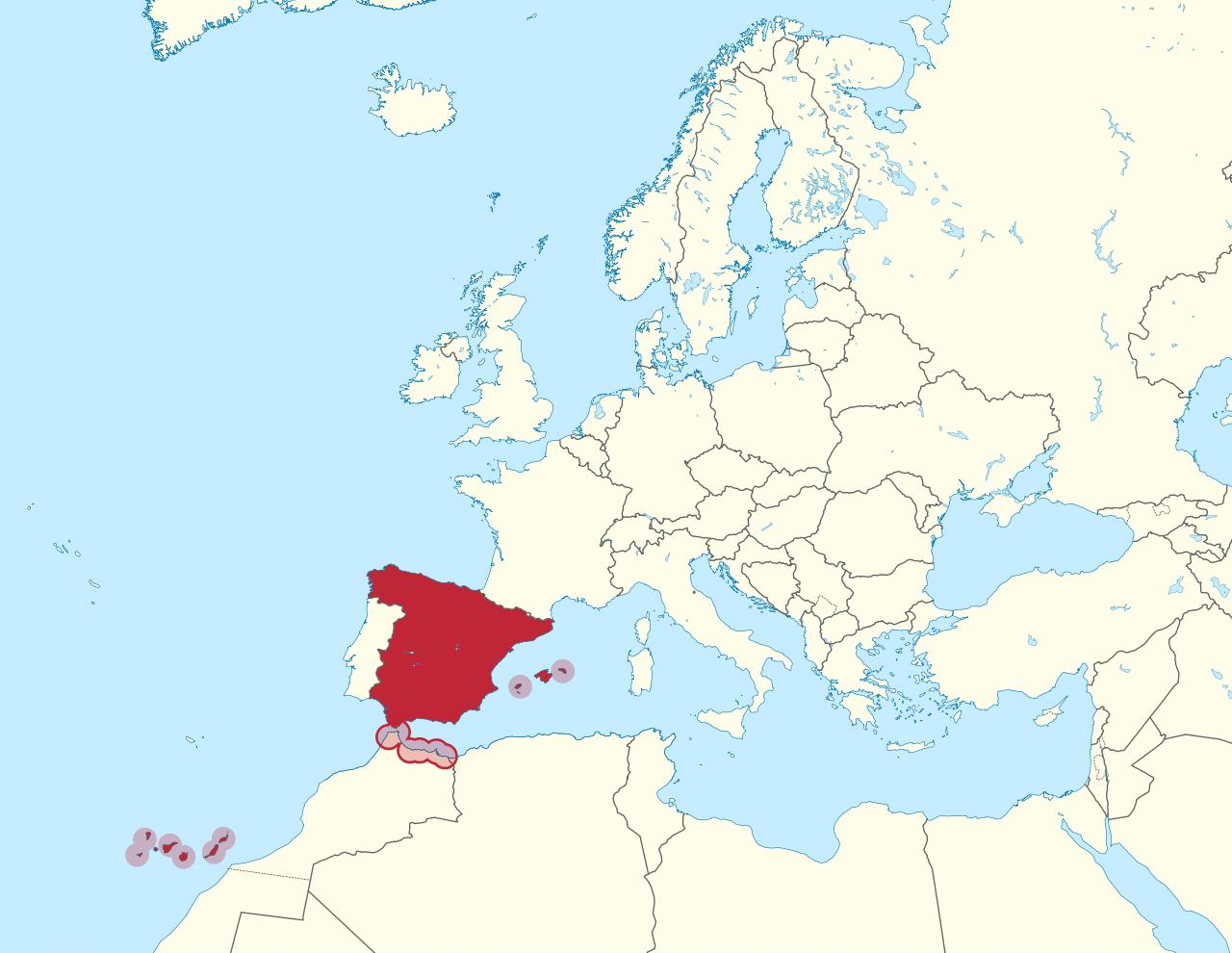 Map of Spain Europe