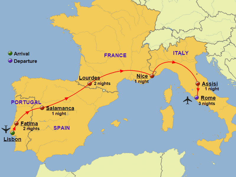 Map of Spain France