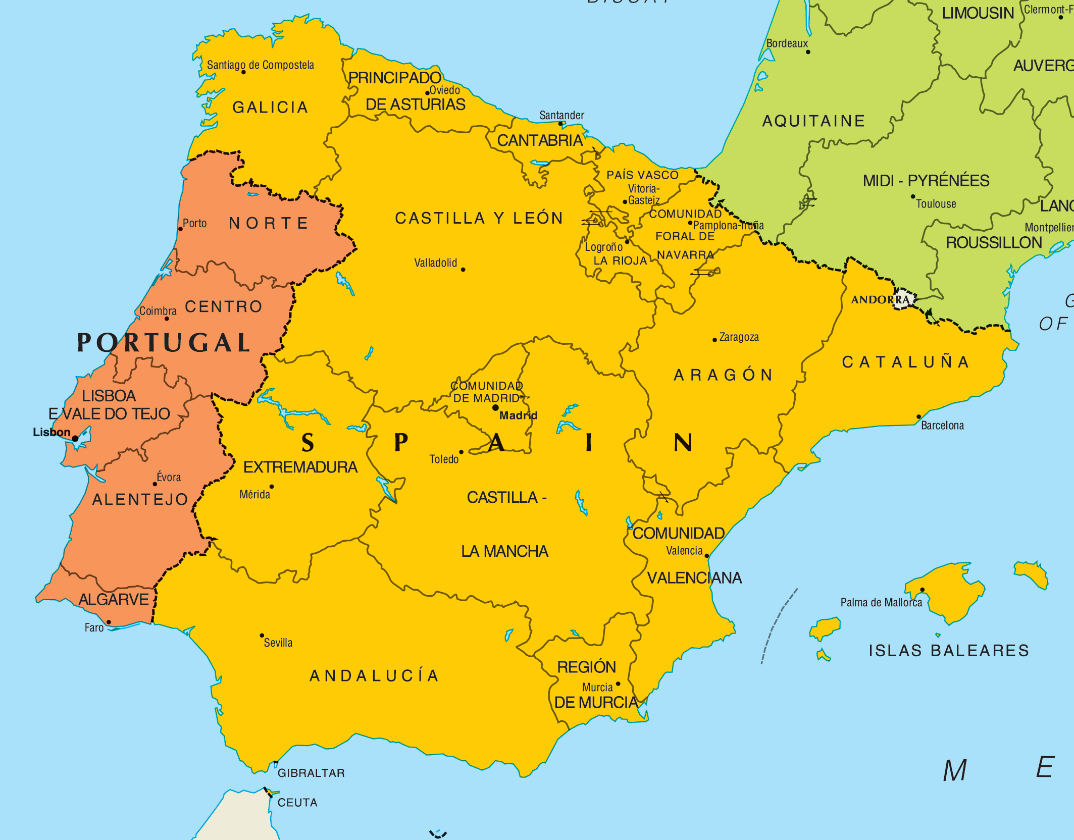 Map of Spain Hd