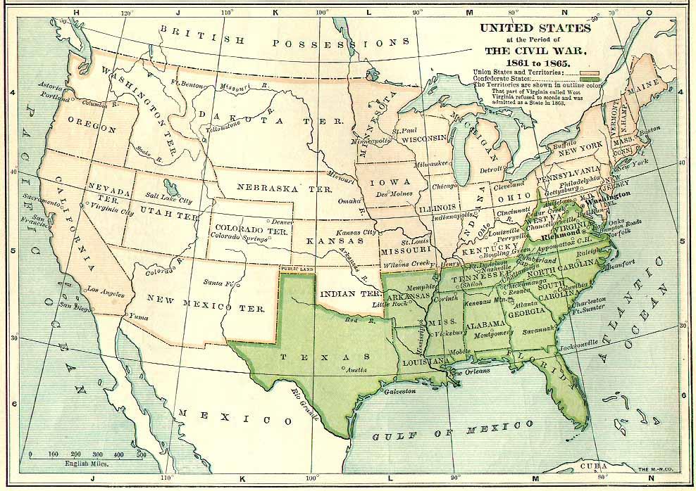 Map of USA Civil War