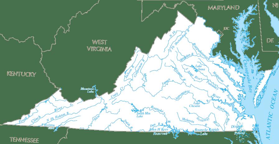 Map of Virginia Rivers