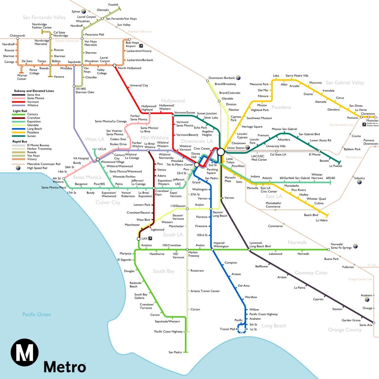 Map of la Metro