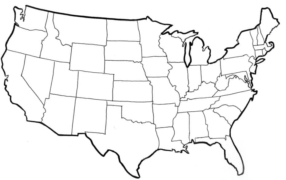 Map of the United States Blank