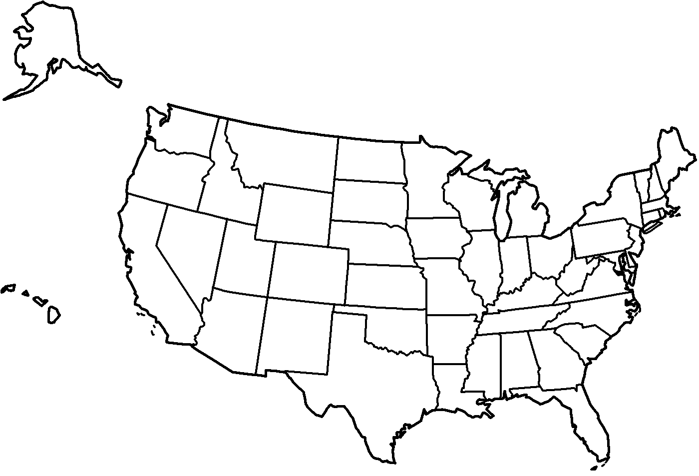 Map of the United States Coloring