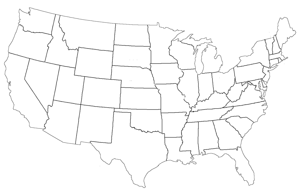 Map of the United States Empty