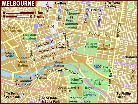 Melbourne City Center Map