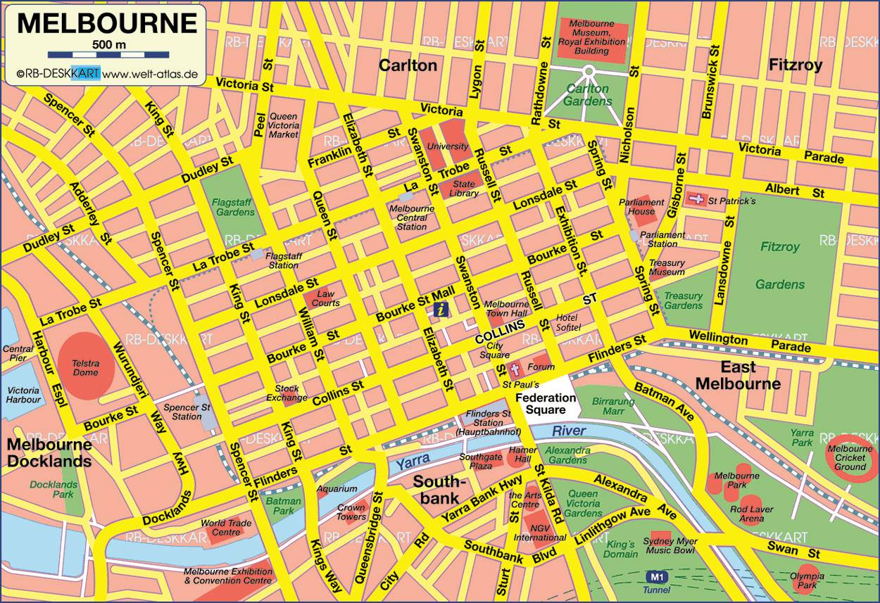Melbourne City Map Printable