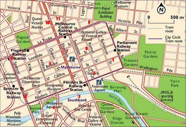 Melbourne City Map Tourist