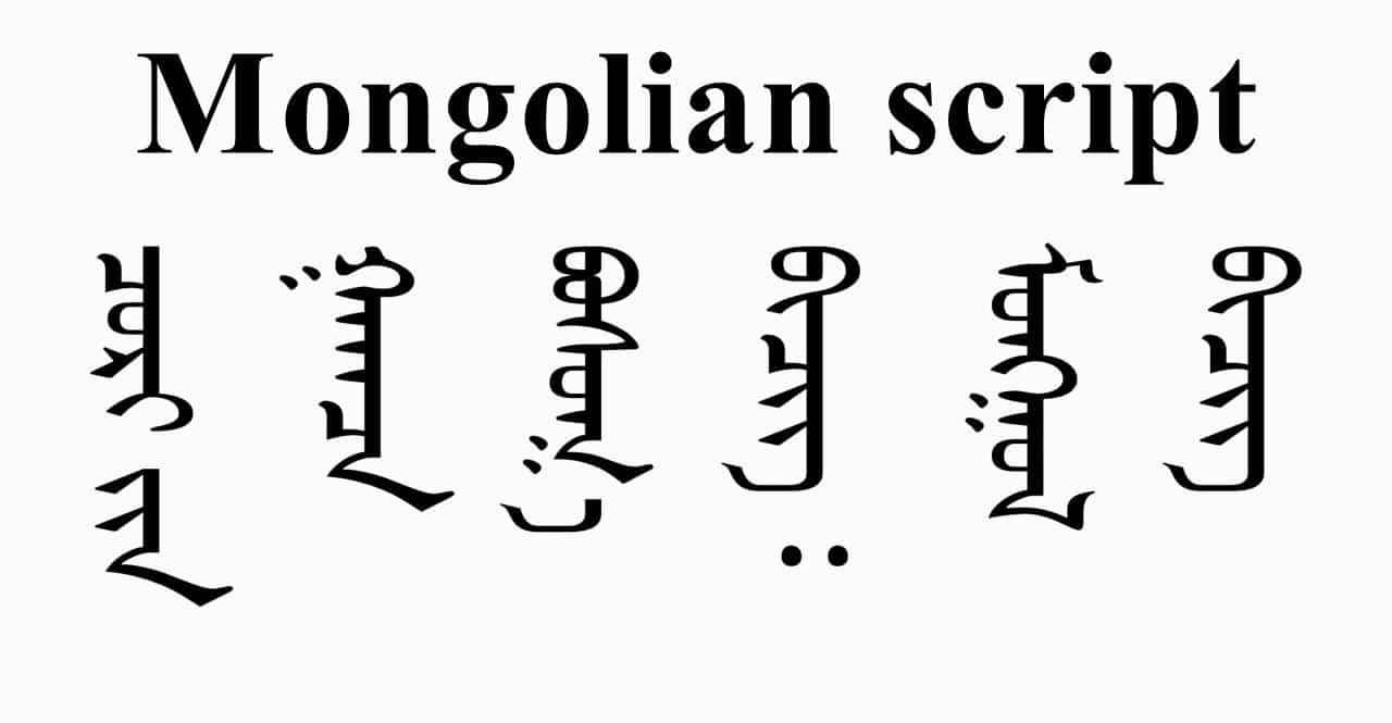 Mongolian Script Alphabet