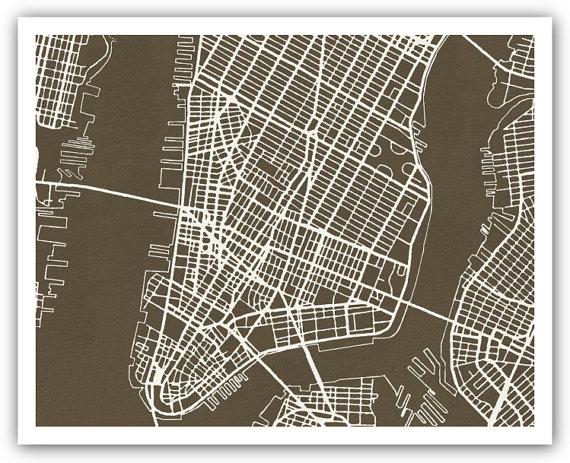 New York City Street Map Poster