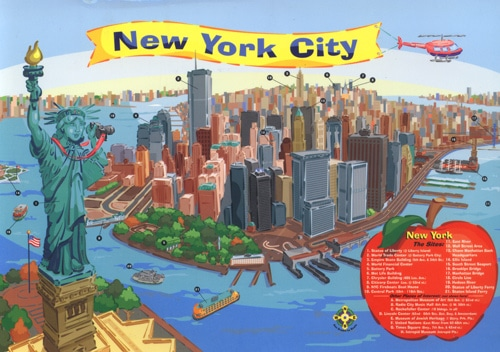 New York Map Cartoon