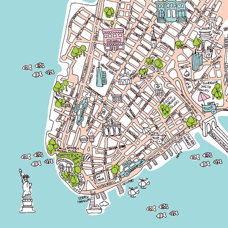 New York Map Drawing