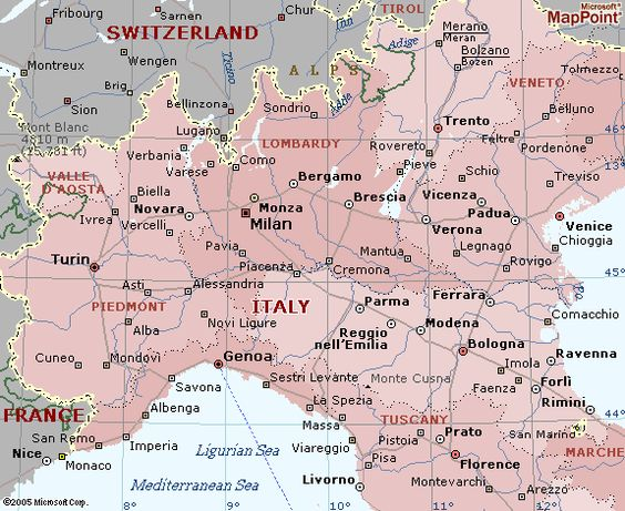 Northern Italy Cities Map