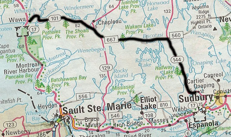 Northern Ontario Road Map