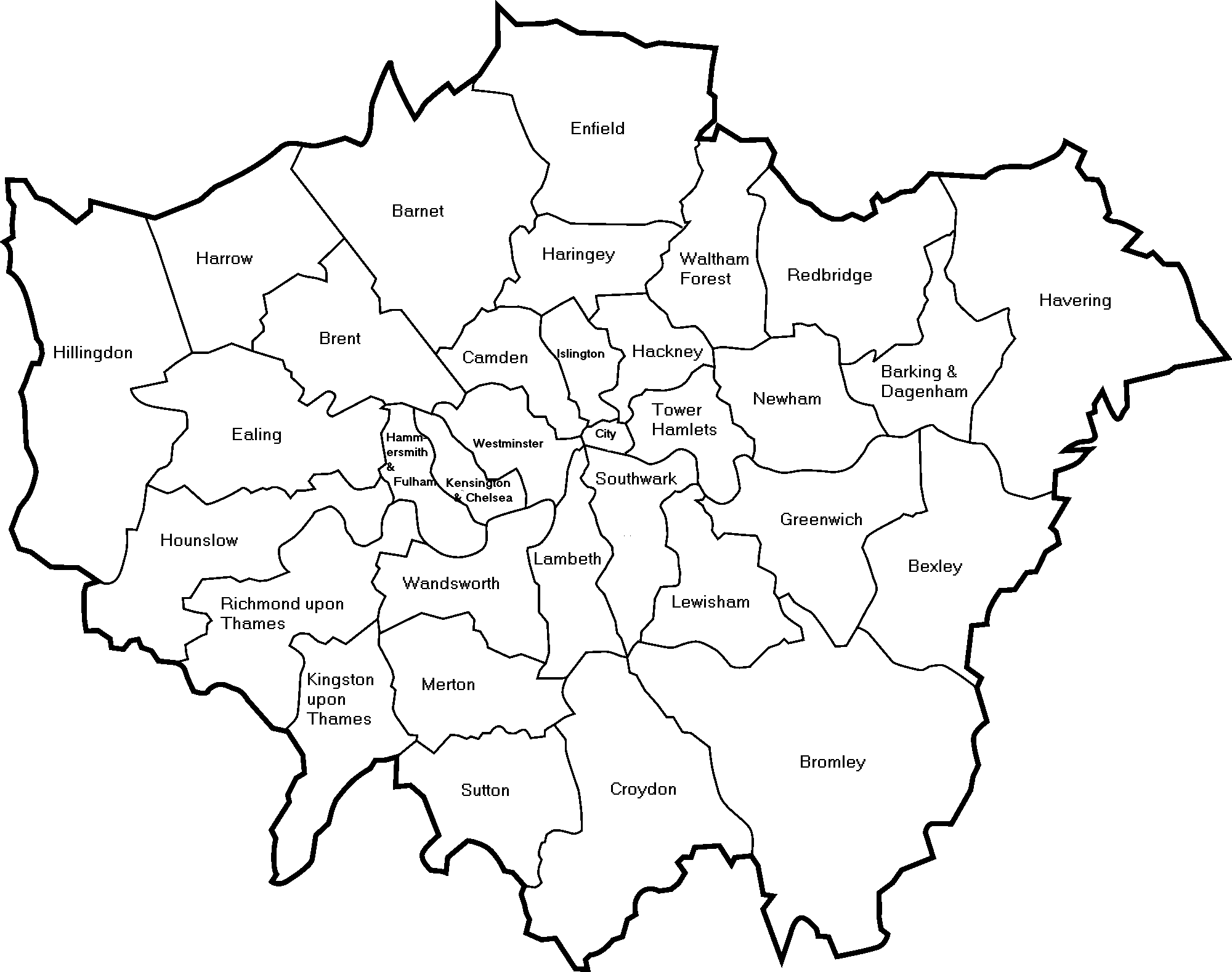 Outline London City Map