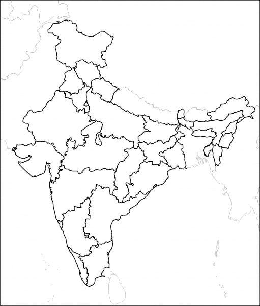 Outline map of India