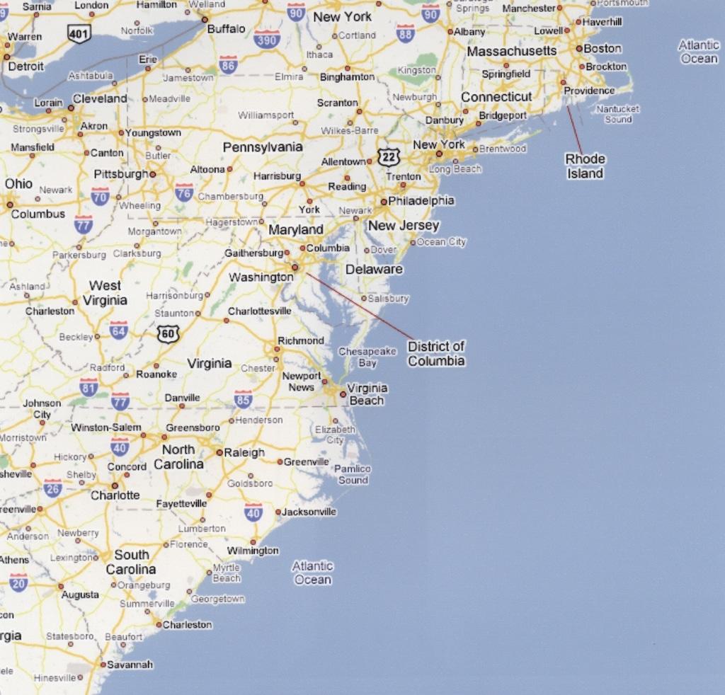 Road Map USA East Coast