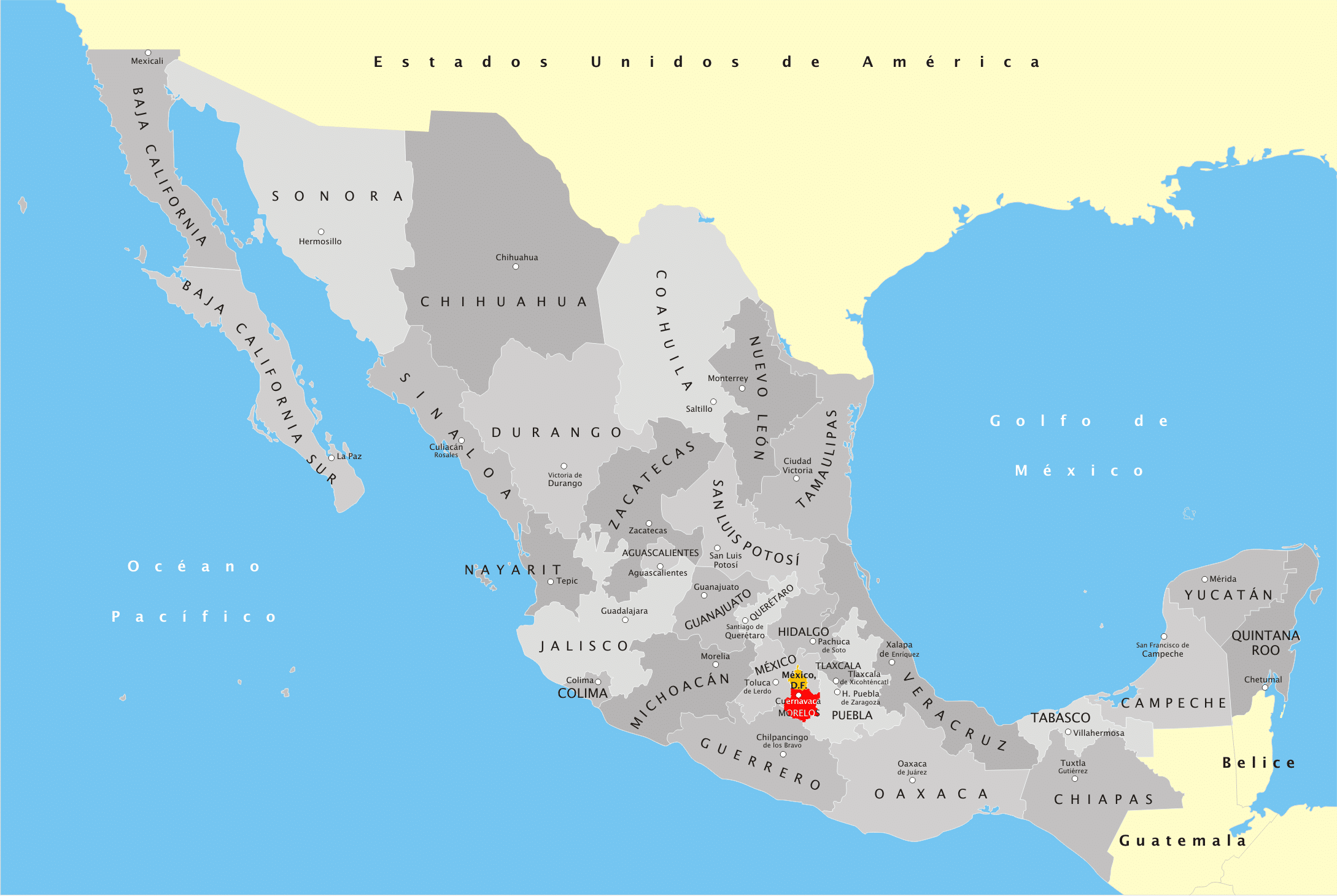 State Map Mexico