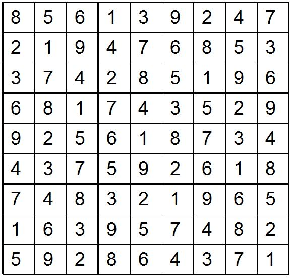 Sudoku Answers Image