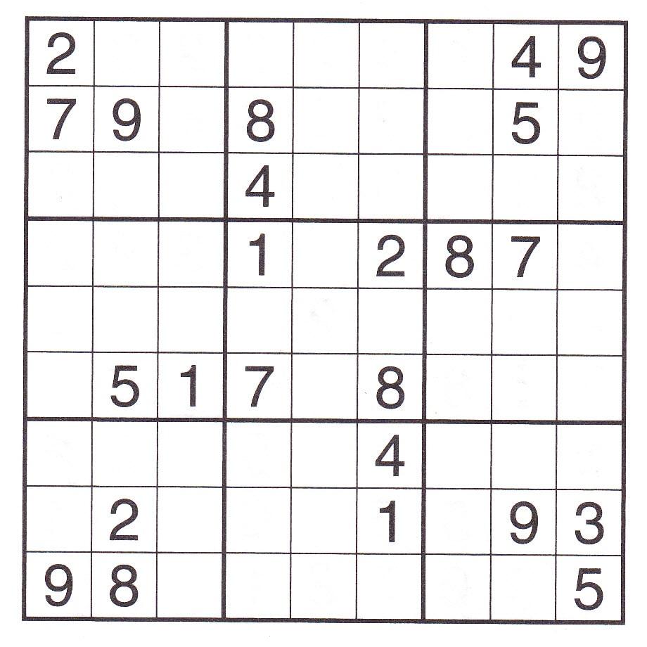 Sudoku Free Print Chart