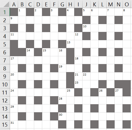 Sudoku Grid Crossword