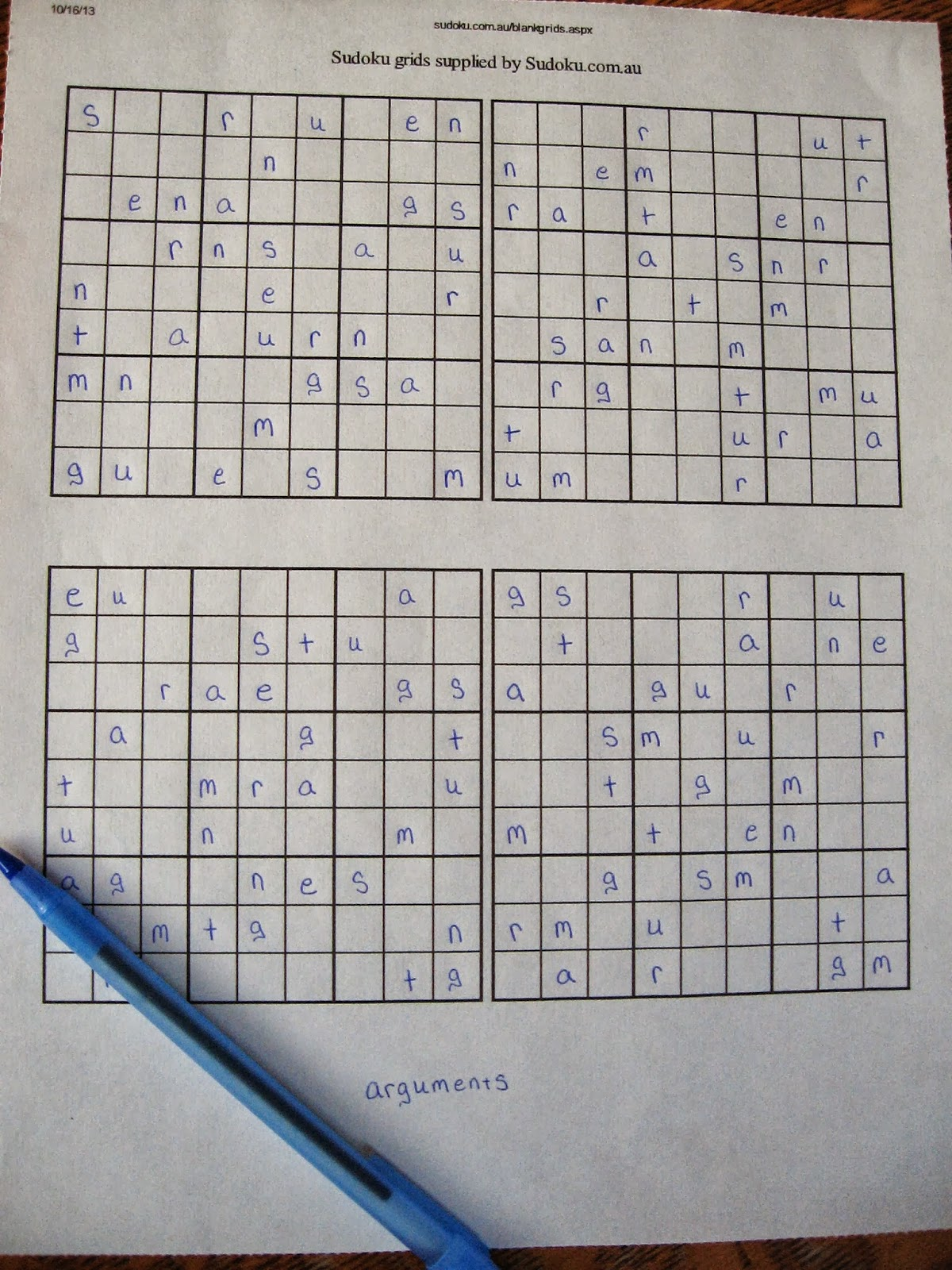 Sudoku Printable Grids Worksheet