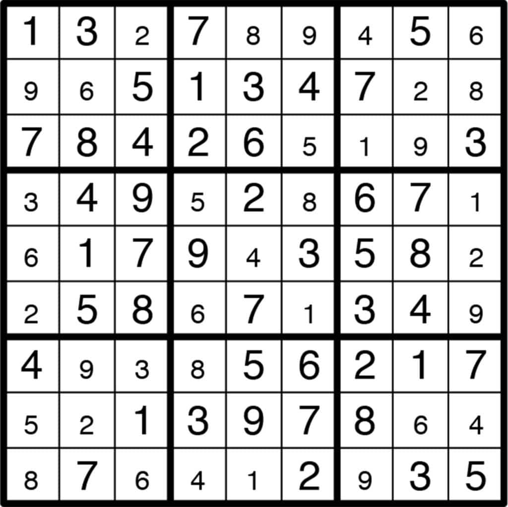 Sudoku Printable Puzzle Answers