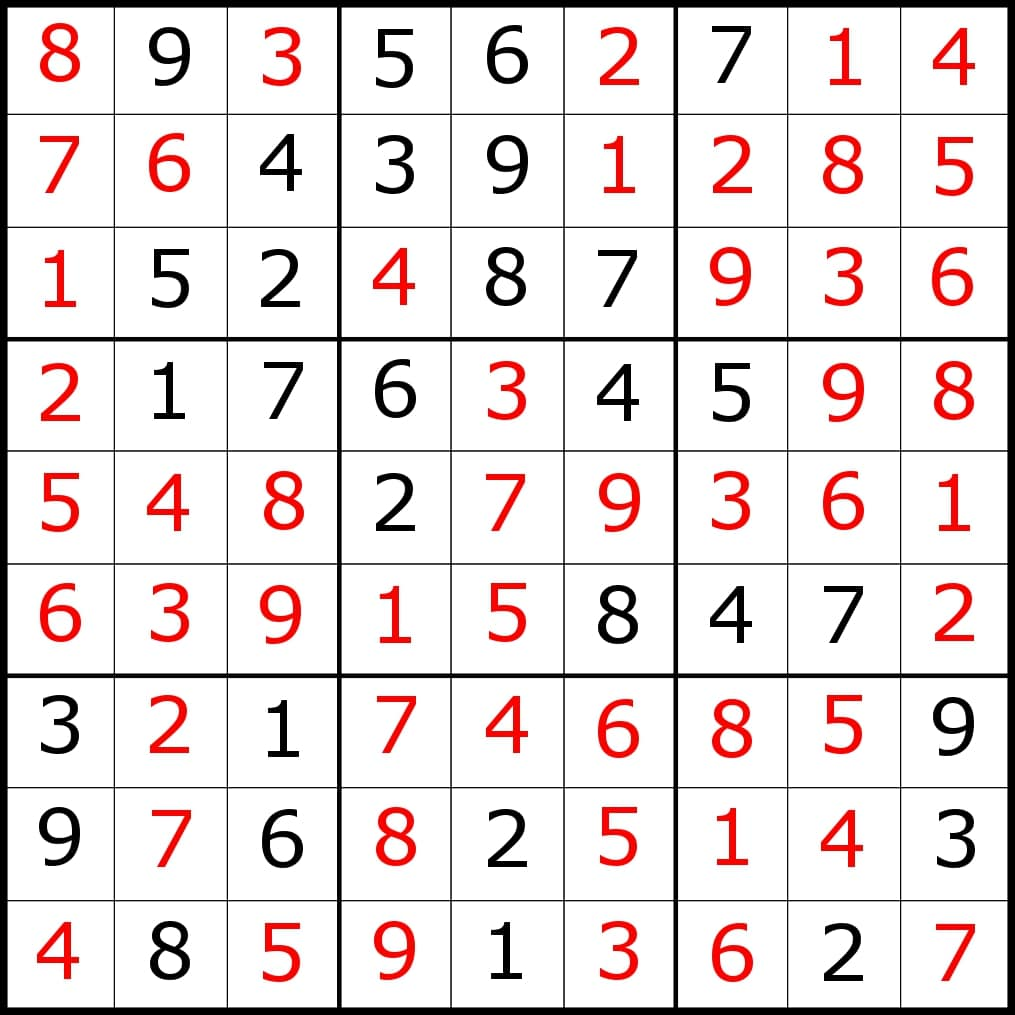 Sudoku With Answers