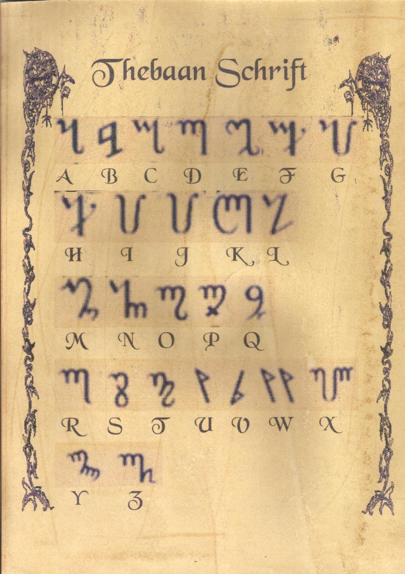 Theban Alphabet Script