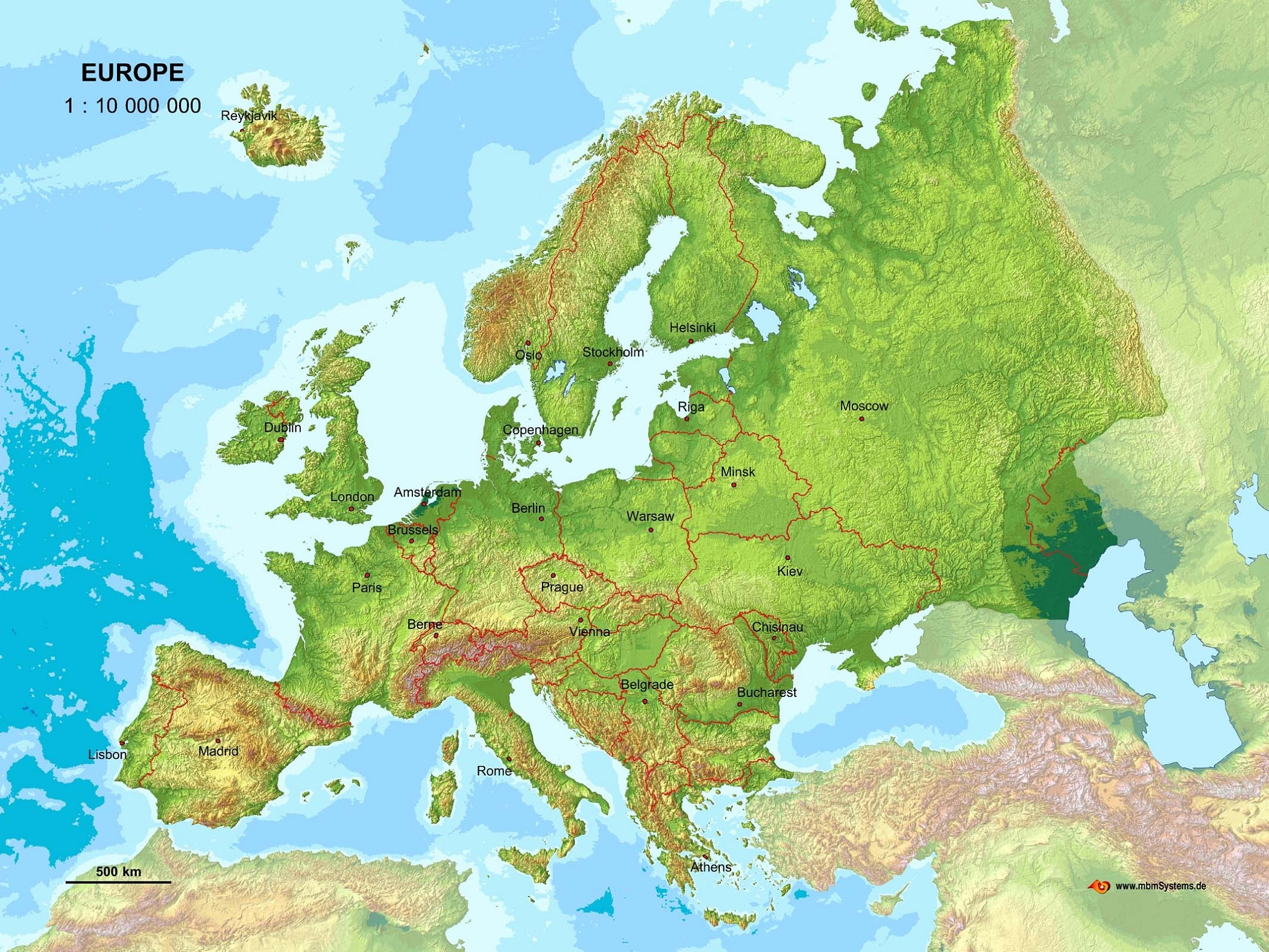 Topographic Map Europe