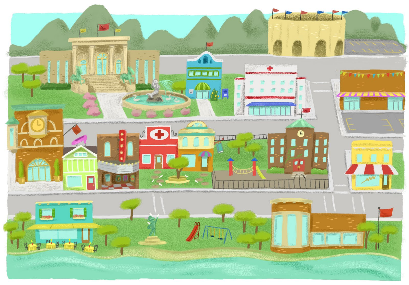 Town Map Clipart