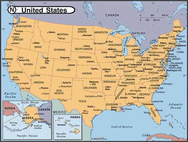 USA Map Cities hd