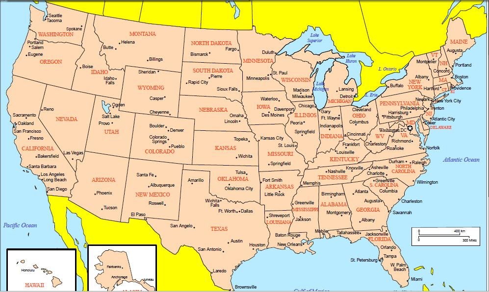USA Map Cities
