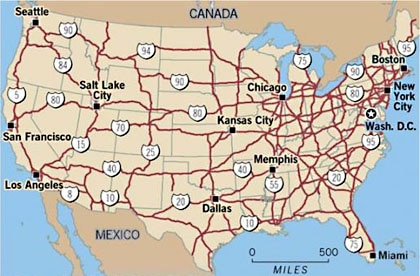 USA Road Map Interstate