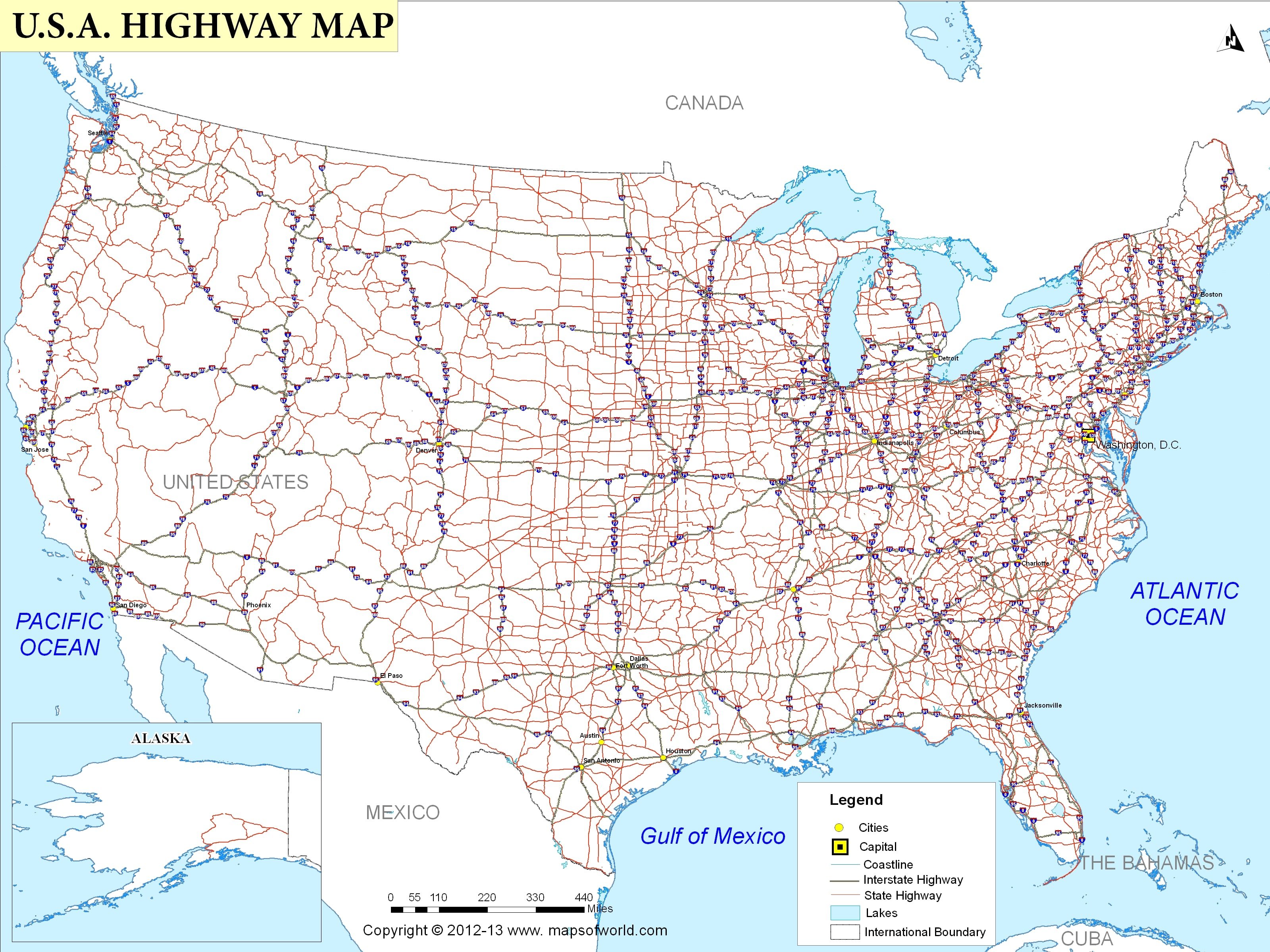 Usa Road Map State
