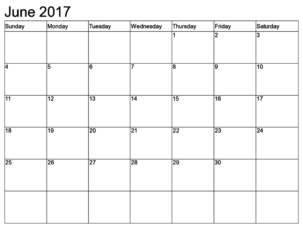 2017 June Calendar Download