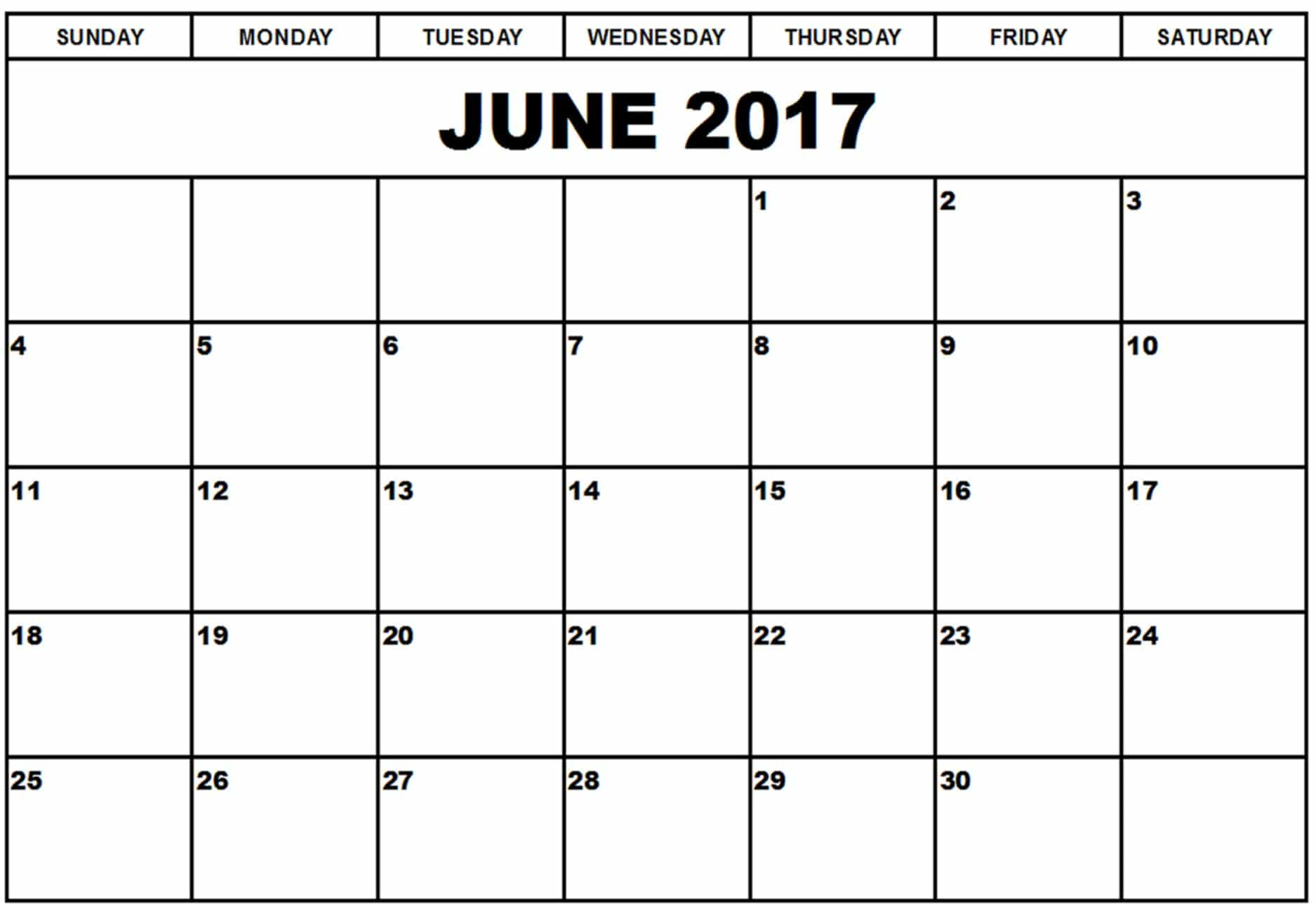 2017 June Calendar Holidays