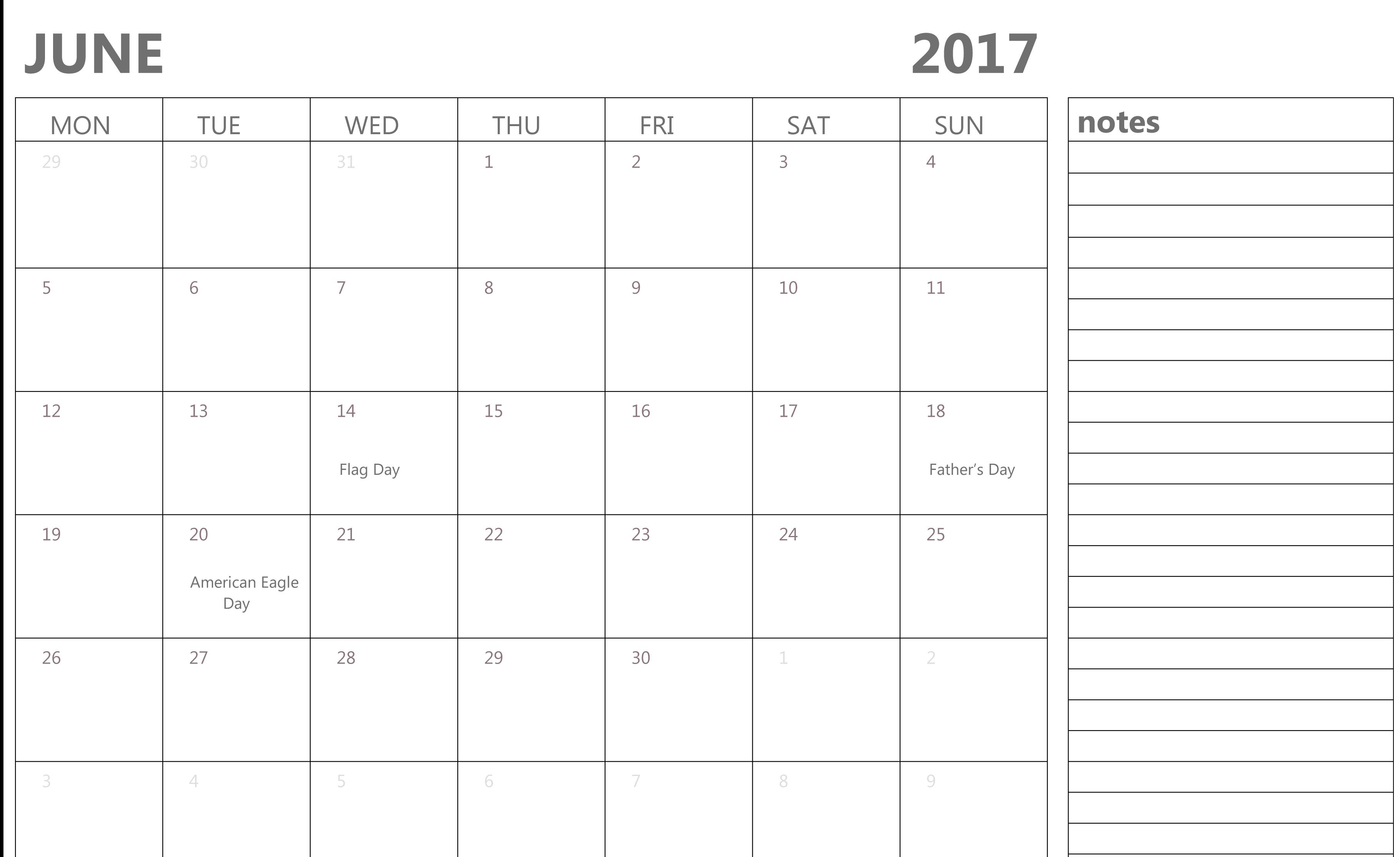 2017 June Calendar Image with Festivals