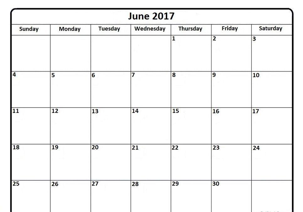 2017 June Calendar Printable