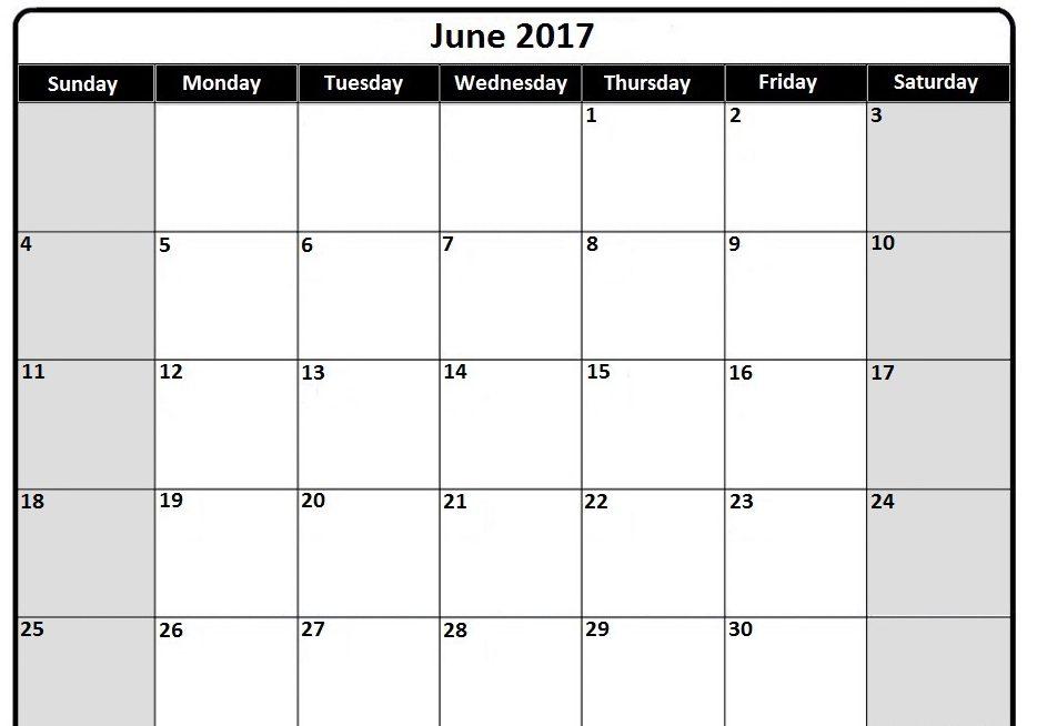 2017 June Calendar Template