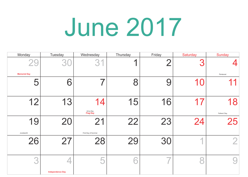 2017 June Calendar With Festivals