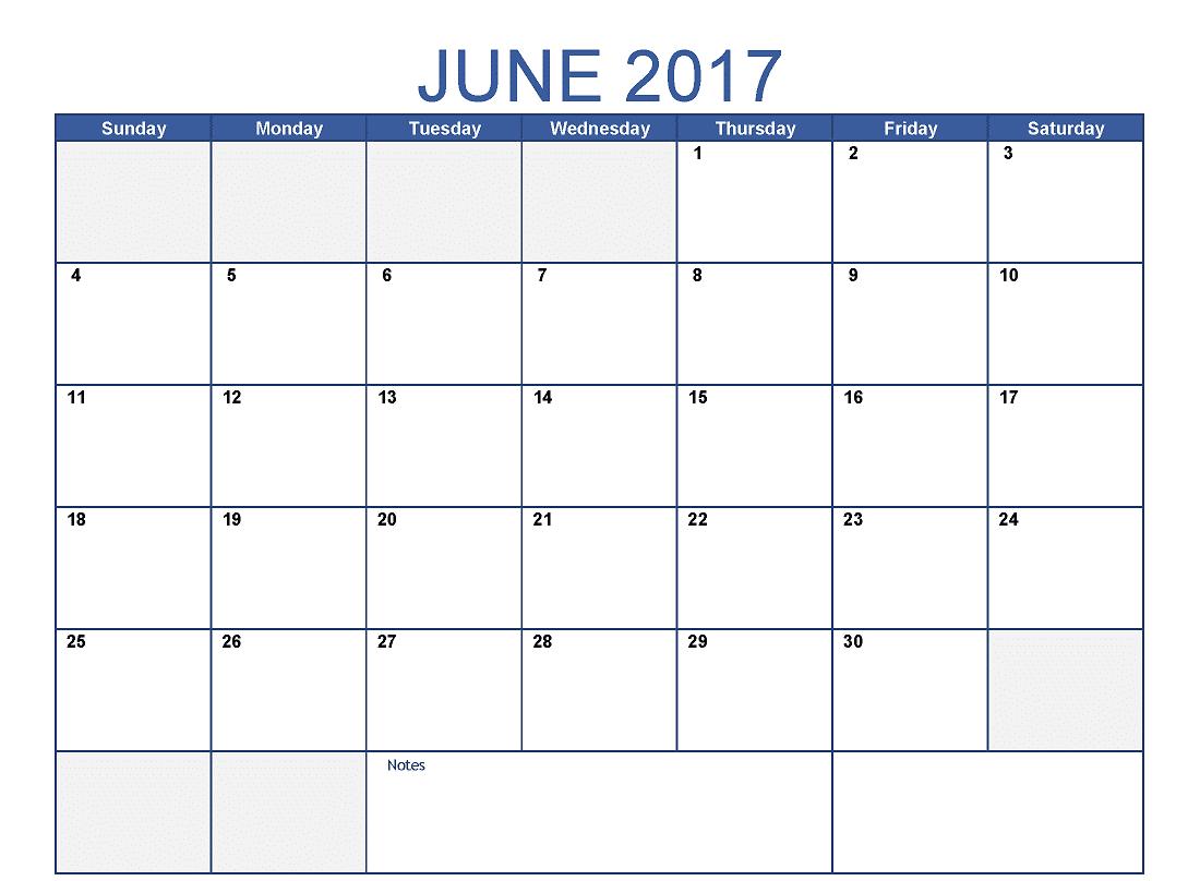 2017 June Calendar With Festivals