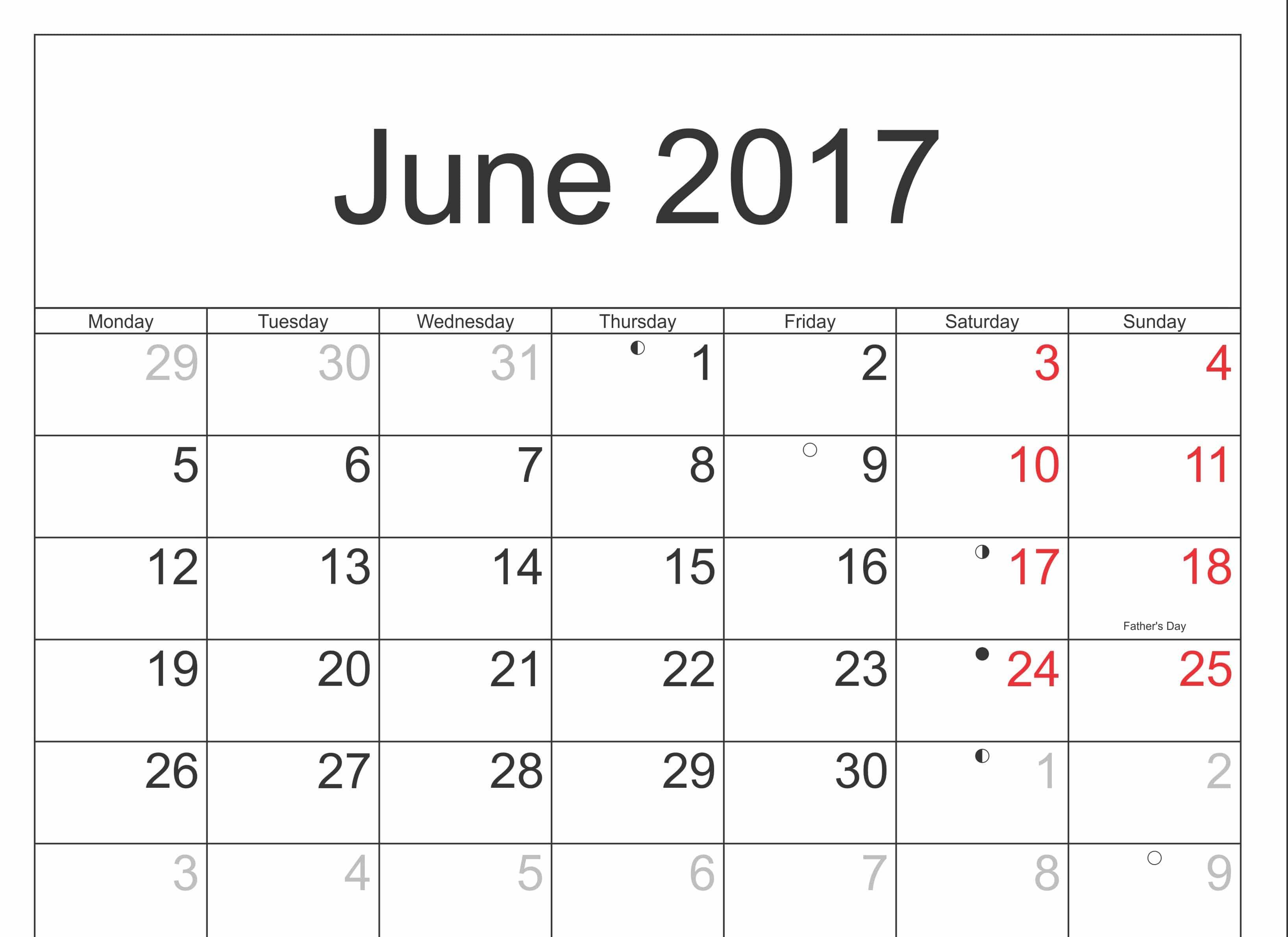 2017 June Calendar With Holidays
