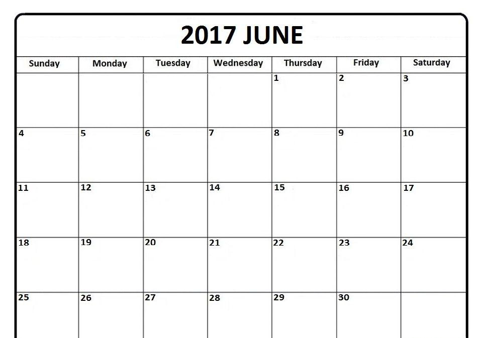 Blank Calendar June 2017