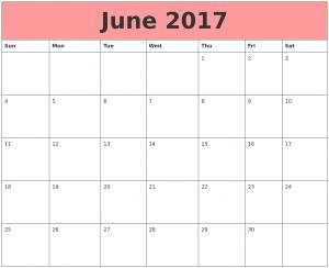 Blank Calendar June 2017 Image