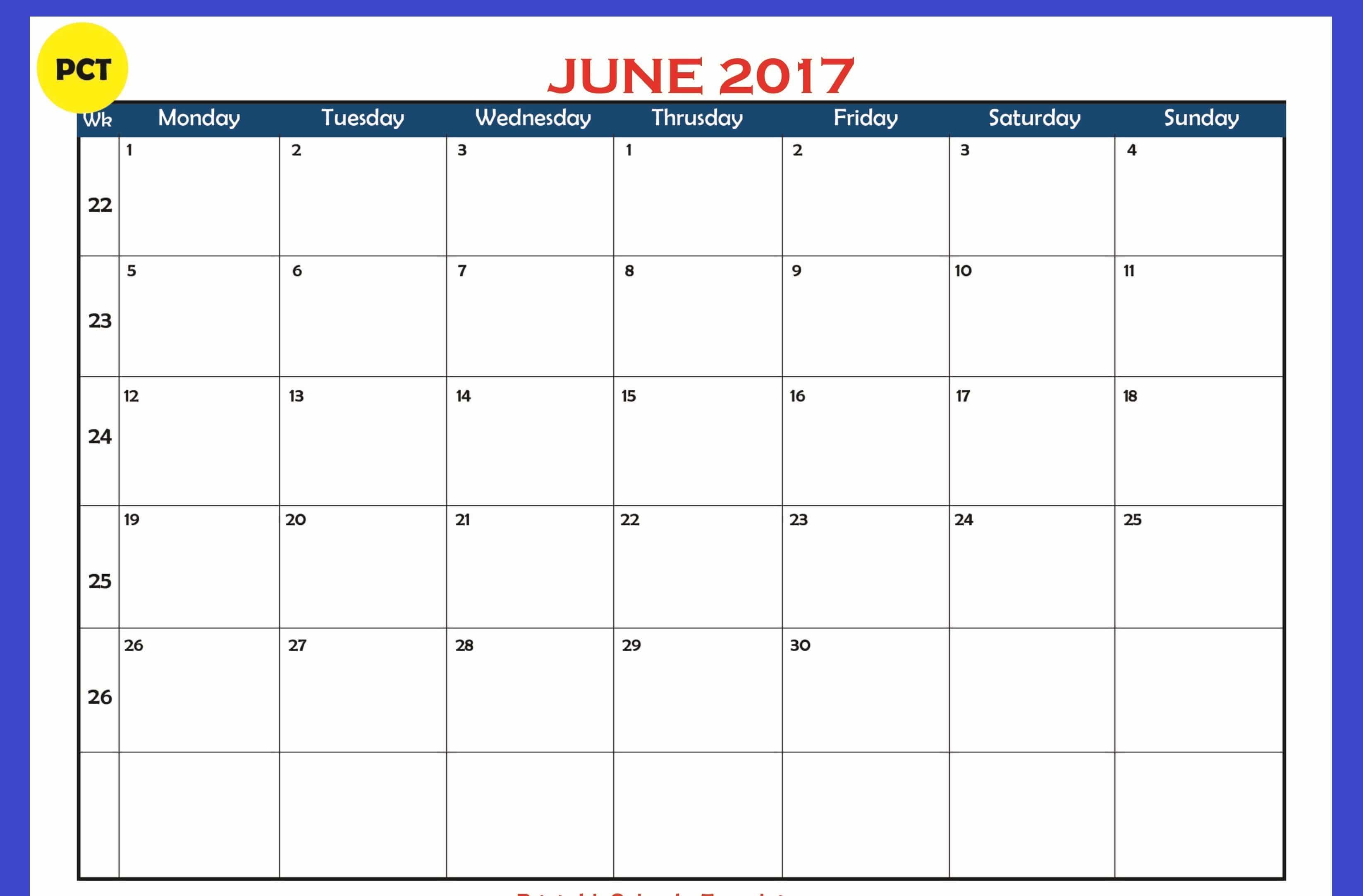 Blank Calendar June 2017 Picture