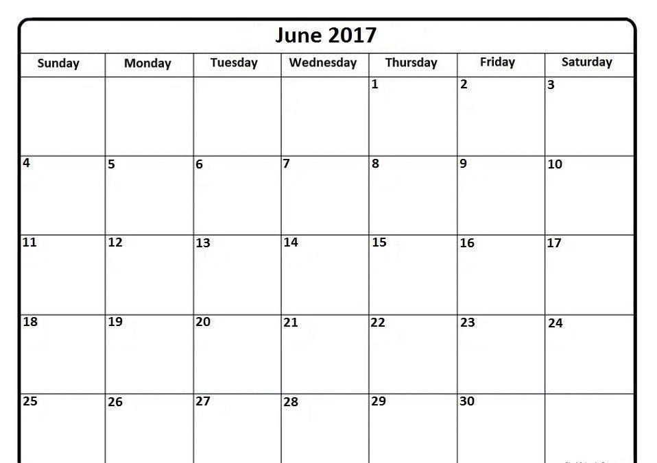 Blank Calendar June 2017 Printable