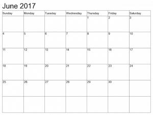 Blank Calendar June 2017 Template