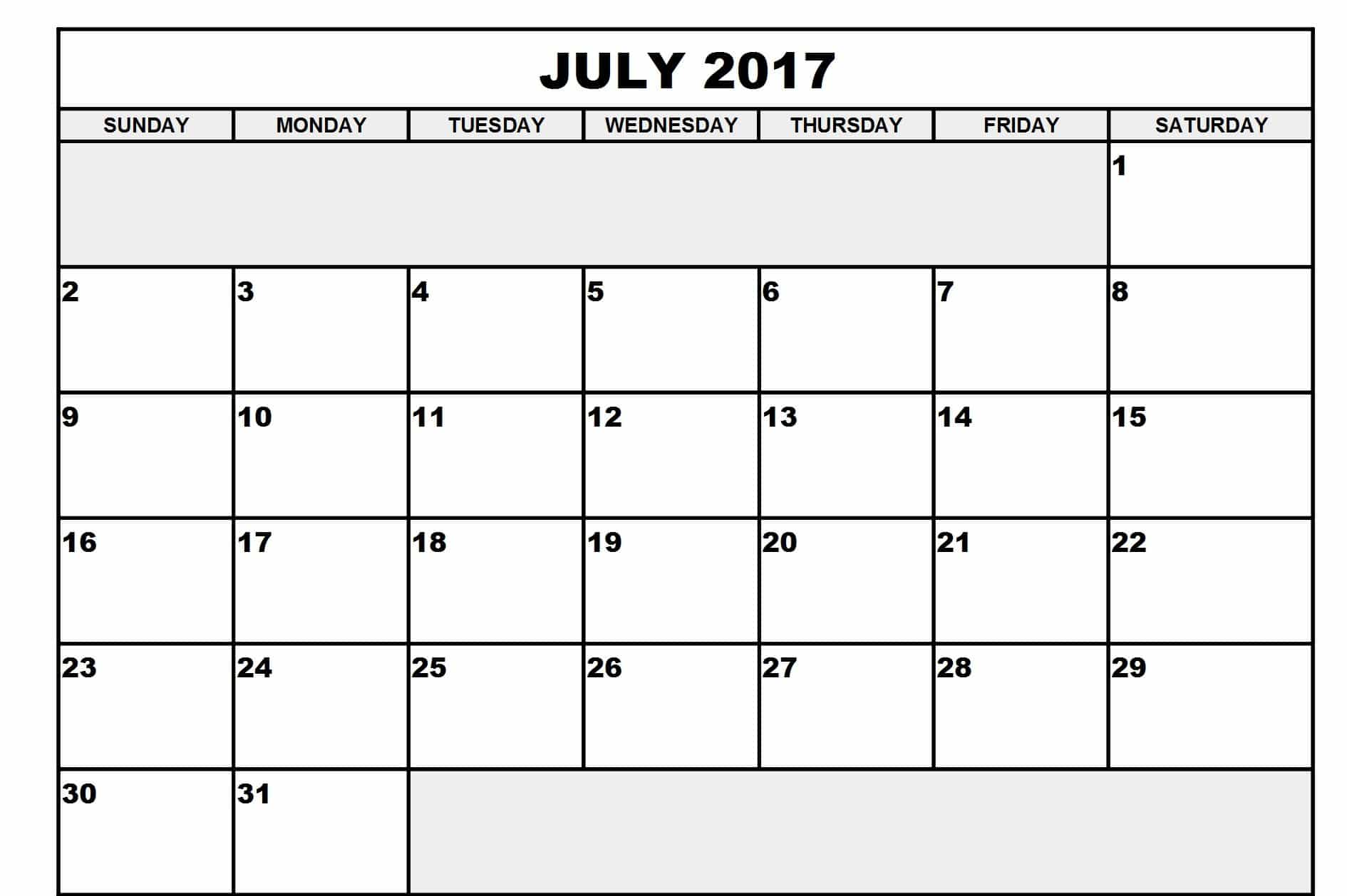 Calendar For July 2017 Printable