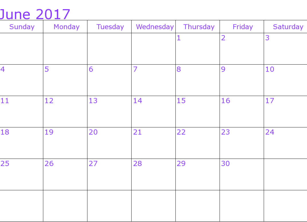 Calendar For June 2017 Picture
